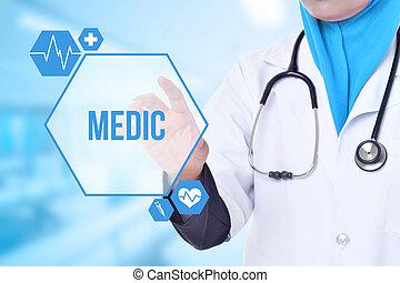 encima, fondo., médico médico, atención sanitaria, concept., azul, clínica