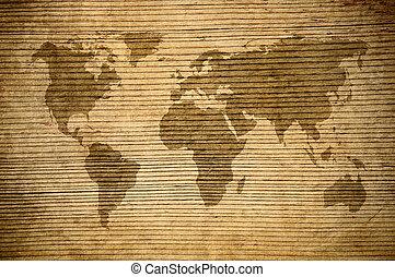 encima, grunge, plano de fondo, mapa, mundo, de madera