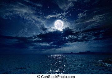 encima, lleno, mar, luna