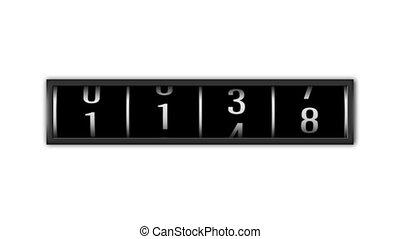 encima, loopable, números, plano de fondo, blanco, contar