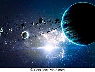 encima, nebulae, planetas, espacio