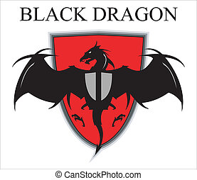 encima, negro, dragón, protector, rojo