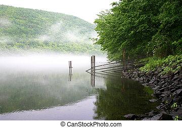 encima, río, niebla