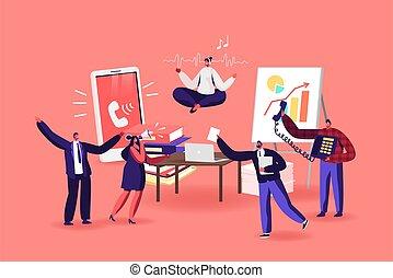 encima, relajado, desordenado, medite, oficinista, mujer de negocios, altísimo, workplace., loto, posición yoga, escritorio