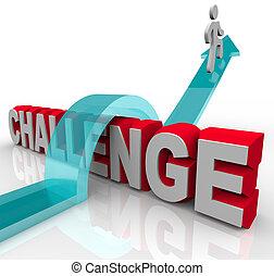 encima, saltar, desafío, éxito, lograr