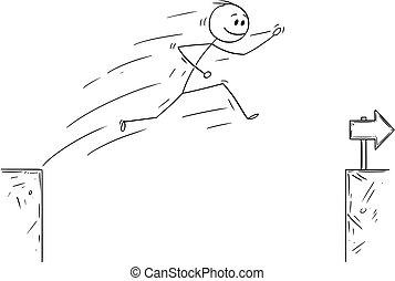 encima, saltar, superación, caricatura, obstáculo, abismo, hombre de negocios
