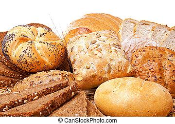 encima, surtido, pan blanco, cocido al horno