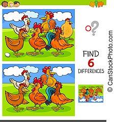 Encontrar diferencias con gallinas y gallos