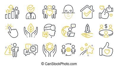 encontrar personas, conjunto, symbols., iconos, ingeniería, tal, vector, crowdfunding, equipo