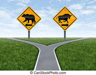 Encrucijada de bolsa con señales de toro y oso
