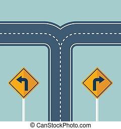 encrucijada, dirección, vuelta, camino, manera, signo.