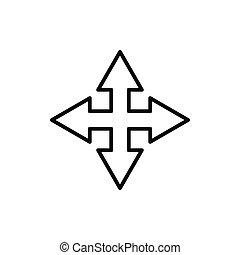 encrucijada, flecha, icon., plantilla, línea, diseño, vector