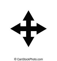 encrucijada, icon., diseño, plantilla, flecha, vector