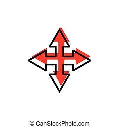 encrucijada, plano, plantilla, diseño, flecha, vector, icon.