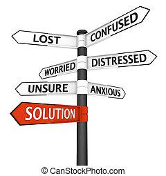 encrucijada, solución, señal