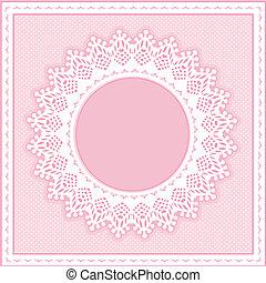 Encuadra de encaje, rosa pastel