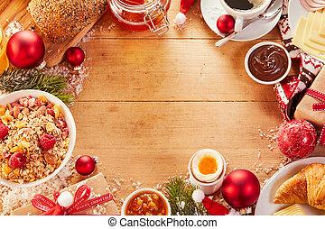 Encuadre de comida navideña con espacio de copia