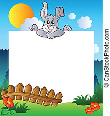 Encuadre de Pascua con conejito al acecho