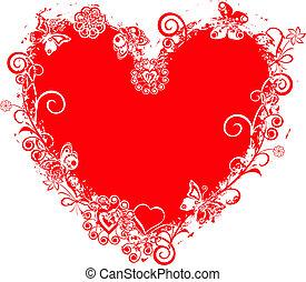 Encuadre de Valentine, corazón, vector