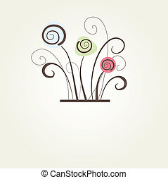Encuadre vectorial antiguo en antecedentes florales