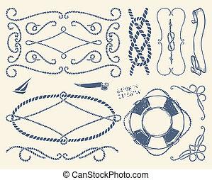 Encuadres de cuerdas decorativos sobre whi