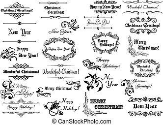 Encuadres de Navidad y fronteras caligráficos