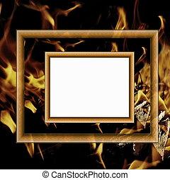 Encuadrones de madera en el fondo del fuego