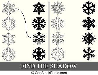Encuentra las sombras correctas de copos de nieve. Página de color. Juego visual educativo para niños.