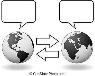encuentra, oeste, hemisferios, comunicación, traducción, este