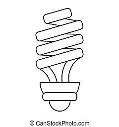 Energía ahorrando la luz de la lámpara pictografía