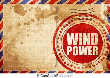 Energía de viento, sello de grunge rojo en un fondo de correo aéreo