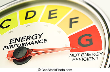 energía, eficiente, aislamiento, concept., edificio., no, ineficaz