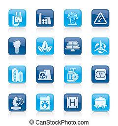 Energía, energía y iconos eléctricos
