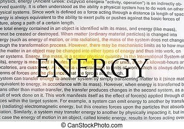 Energía escrita en papel