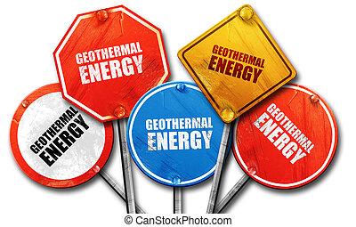 Energía geotérmica, representación 3D, dura colección de señales de la calle