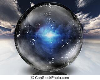 Energía misteriosa contenida dentro de la esfera de cristal