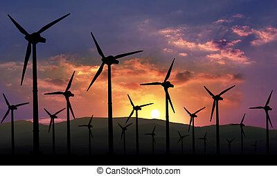 Energía renovable de la granja eólica