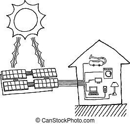 Energía solar gráfica. Energía barata trabajando diagrama