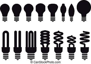 energía, vector, ahorro, bombillas
