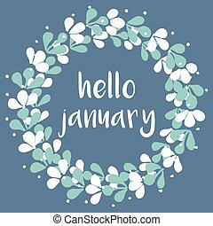 enero, vector, hola, tarjeta, invierno