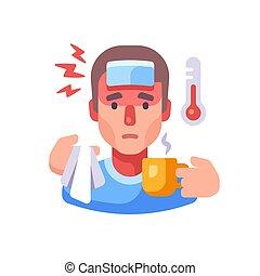 enfermedad, bebida, illustration., hombre, enfermo, teniendo, contagioso, concepto, tipo, té, gripe, symptoms., plano