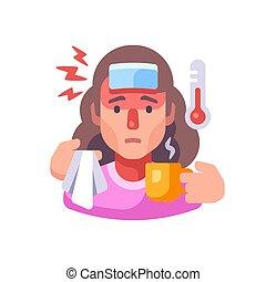 enfermedad, bebida, illustration., mujer, enfermo, teniendo, contagioso, concepto, tipo, té, gripe, symptoms., plano