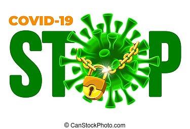 enfermedad, concepto, brote, covid-19, parada, coronavirus
