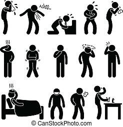 enfermedad, enfermedad, síntoma, enfermedad
