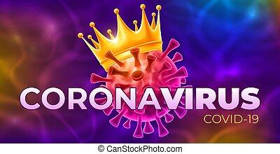 enfermedad, viral, concepto, coronavirus, brote, vector, covid-19, célula, corona