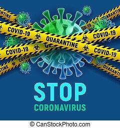enfermedad, viral, concepto, ilustración, cuarentena, brote, células, vector, covid-19, parada, coronavirus