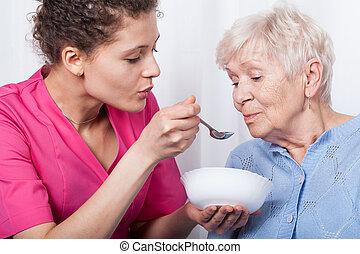 enfermera, alimentación, dama, más viejo
