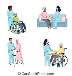 enfermera, anciano, cuidado, conjunto