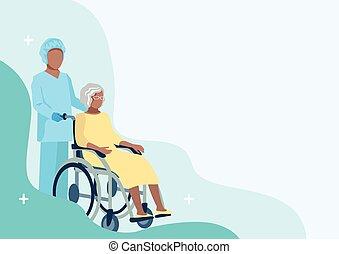 enfermera, anciano, cuidado