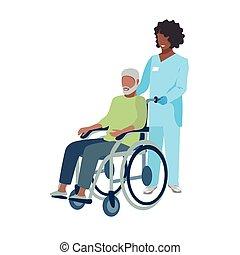 enfermera, cuidado, anciano